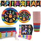 82 PCS Mexican Themed Fiesta Party Supplies Set Including Plates, Cups, Napkins, Tablecloth and Banner for Mexican-Themed Sch