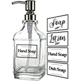 JASAI Antique Design 18Oz Soap Dispenser with Jumbo Rust Proof 304 Stainless Steel Pump, Refillable Hand Soap Dispenser with
