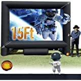 15FT Inflatable Mega Movie Screen Outdoor - Front and Rear Projection - Portable Blow Up Projector Screen for Grand Parties,