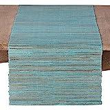 "SARO LIFESTYLE 217.TQ1672B Melaya Collection Nubby Texture Woven Table Runner, 16"" x 72"", Turquoise"