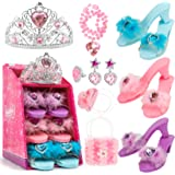 Jaolex Princess Dress Up Shoes and Jewelry Boutique Set -3 Pairs of Shoes with Tiara Earrings Necklaces Ring Handbag Role Pla