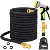 """Higen 100ft Upgraded Expandable Garden Hose Set, Extra Strength Fabric Triple Layer Latex Core, 3/4"""" Solid Brass Fittings, 9"""
