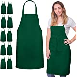 GREEN LIFESTYLE 12 Pack Bib Apron - Unisex Black Apron Bulk Machine Washable for Kitchen Crafting BBQ Drawing Outdoors (Fores
