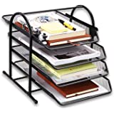 MDHAND Desk Organizer with 4 Sliding Trays, Mesh Office File Organizer for Documents, Mail, Paper, Letters, Files Holder & So
