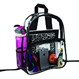 Clear Backpack Security Approved - Reinforced Straps & Front Accessory Pocket - Perfect for School Bookbag, Sporting Events