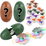 FiGoal 2 Packs Dinosaur Eggs with Light Up Spinning Top and Surprise Dinosaurs, Flashing Spinning Top Battle Game Dinosaur Gi