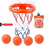 MARPPY Bath Toys, Bathtub Basketball Hoop for Toddlers Kids, Boys and Girls with 4 Soft Balls Set & Strong Suction Cup, Bathr