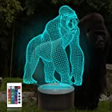 3D Gorilla Illusion Lamp, Attivolife Ape LED Optical Hologram Night Light 16 Colors Changing with Timer Remote Control, Child