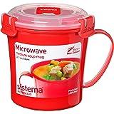 Sistema Microwave Collection Soup Mug, Medium, 22.1 oz./0.7 L, Red