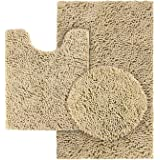HOMEIDEAS 3 Pieces Bathroom Toilet Cover Set Beige, Extra Soft Chenille Bathroom Rugs, Absorbent Plush Shaggy Bathroom Rugs S