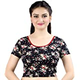 Chandrakala Women's Stretchable Printed Readymade Indian Ethnic Saree Blouse Crop Top Choli (B139)