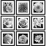 eletecpro 12x12 Picture Frames Black Set of 9,Wooden Square Photo Frame Displays 8x8 With Mat and 12x12 Without Mat,Poster Fr