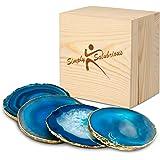 Brazilian Blue Agate Coasters | Natural Geode Stone Coasters | 4-Pack Drink Coasters | Agate Slices in Wooden Gift Box |Rando