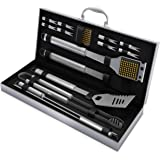 Home-Complete BBQ Grill Tool Set- 16 Piece Stainless Steel Barbecue Grilling Accessories with Aluminum Case, Spatula, Tongs,
