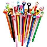 24 pack Black Erasable Pens Kawaii Cute Cartoon Gel Ink Pens Assorted Style Writing Pens for Birthday Present School Prize St