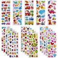 3D Stickers for Kids Toddlers Vivid Puffy Kids Stickers 24 Different Sheets Over 550 Stickers, Colored 3D Stickers for Boys G
