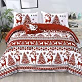 Christmas Duvet Cover Set King 3 Pieces Red Deer Tree Snowflake Pattern Printed Bedding Comforter Cover with Zipper Closure f