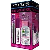 Maybelline Salon Lashes at Home Gift Set: Falsies Lash Lift Mascara, Falsies Overnight Conditioning Lash Mask, Garnier Micell