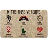 Artoid Mode in This House We Believe Decorative Doormat, Seasonal LGBT Science Feminism Humans Kindness Low-Profile Floor Mat