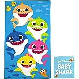 "Franco Kids Bath and Beach Soft Cotton Terry Towel with Washcloth Set, 25"" x 50"", Baby Shark"