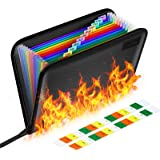 Fireproof File Folder Letter Size Folder Organizer and Water Resistant with Silicone-Coated Heat Resistant Money Document Bag
