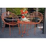 Patio Setting Distressed Orange May 3 Piece Bistro Balcony Metal Steel Garden Furniture Outdoor Home Decor