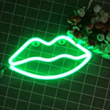 Neon Sign Decorative Lip LED Night Light Art Wall Decor for Women Room Birthday Party Decor Powered by Battery/USB (Green)