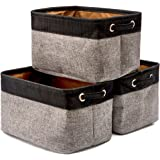 EZOWare Collapsible Large Storage Bins Basket [3-Pack] Canvas Fabric Tweed Storage Organizer Cube Set W/Handles for Nursery K