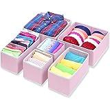 Simple Houseware Closet Drawer Organizer Bin, Non-Woven Fabric, Pink, 6 Set