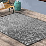 TIDYON Plastic Straw Rug Reversible Mats Large Floor Mat and Rug for Outdoors (Black & Grey4' 6')