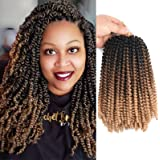3Packs 8Inch Spring Twist Crochet Braiding Hair Extensions Ombre Color Hair Synthetic Short Bouncy Bomb Spring Twist Mini Pas