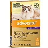 Advocate - Fleas, Heartworm and Worms Treatment for Cats Over 4 kg, 3 Pack
