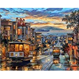 Paint by Numbers-DIY Digital Canvas Oil Painting Adults Kids Paint by Number Kits Home Decorations-Tram in Street 16 * 20 inc