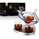 Galaxy Whiskey Decanter Set with 2 Glasses,Galaxy Globe Whiskey Wine Decanter,Bar Set,Wine Whiskey Gifts for Men,Beverage Dri