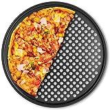 Fox Run Pizza Crisper Pan, Carbon Steel, Non-Stick,Black,14.5 x 14.5 x 0.25 inches