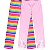 Sunny Fashion Girls Pants 3-Pack Cotton Leggings Lace Stretchy Kids Toddler Size 2-6 Years