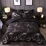 A Nice Night Black Marble Printed,Ultra Soft,Lightweight Microfiber Quilt Cover Bedding Duvet Cover Set with 2 Matching Pillo