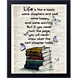 akeke Book Lover Gift Old Book Art Print, Literary Quotes Gift Ideas for Book Lover, Book Quote Wall Art Decor 8x10 Unframed