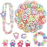 ビーズ おもちゃ 女の子 約420個 手作り ビーズ アクセサリーキット 画像の解説付き (ピンク)