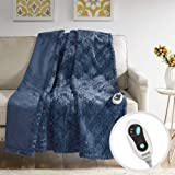 Beautyrest Brushed Long Fur Electric Throw Blanket Ogee Pattern Warm and Soft Heated Wrap with Auto Shutoff-5 Year Warranty,