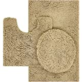 TREETONE Machine Washable Water Absorbent Bath Mat Bathroom Rugs Non Slip Soft Microfiber Mat, Chenille, Beige, 3 pcs