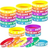 48 Pieces Religious Sayings Rubber Bracelet, Jesus Loves You Faith Silicone Wristbands Jesus Is My Rock Saved Christian Rubbe