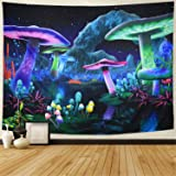 Rajahubri Psychedelic Mushroom Tapestry Fantasy Plant Wall Tapestry Galaxy Space Tapestry Starry Night Sky Tapestry Wall Hang