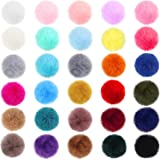 60 Pieces Large Size Pompom Charms Keychain Faux Fur Fluffy Ball Colorful Pompom Pendants for DIY Crafts Jewelry Keychain Mak