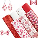 AUXIN 7 Pcs A4 Size Love Theme Heart Printed Red Series Faux Leather Sheets for Bows Earrings Making, Synthetic PU and Chunky