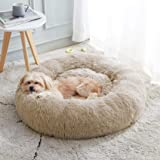 Calming Dog Bed & Cat Bed, Anti-Anxiety Donut Dog Cuddler Bed, Warming Cozy Soft Dog Round Bed, Fluffy Faux Fur Plush Dog Cat