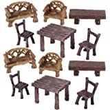 12 Pieces Fairy Garden Furniture Ornaments Miniature Table and Chairs Set Fairy Village Micro Resin Bench Chair for Dollhouse