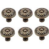Antrader Metal Flower Shape Pull Handle Knob Bronze Tone Used for Cabinet Drawer Door Pack of 6