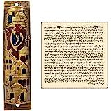 Gold Enamel Jewish MEZUZAH CASE with Scroll Jerusalem Israel Judaica Door Mezuza 4