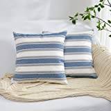 NATUS WEAVER Navy White Brown Black Striped Throw Cushion Faux Linen Home Decorative Hand Made Pillow Case Cushion Cover for
